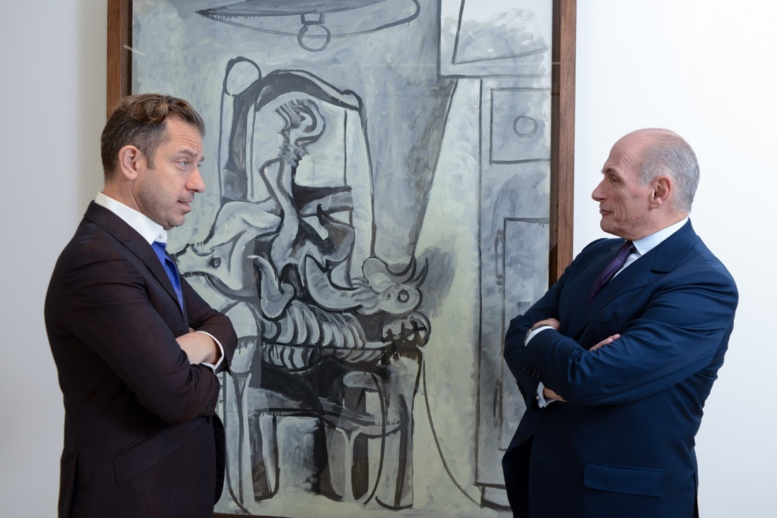 Alexander S. C. Rower and Bernard Ruiz-Picasso. Photo by Casey Kelbaugh, courtesy of Almine Rech; Pablo Picasso, Rooster, 24-27 April 1962. © 2016 Succession Picasso / Artists Rights Society (ARS), New York.