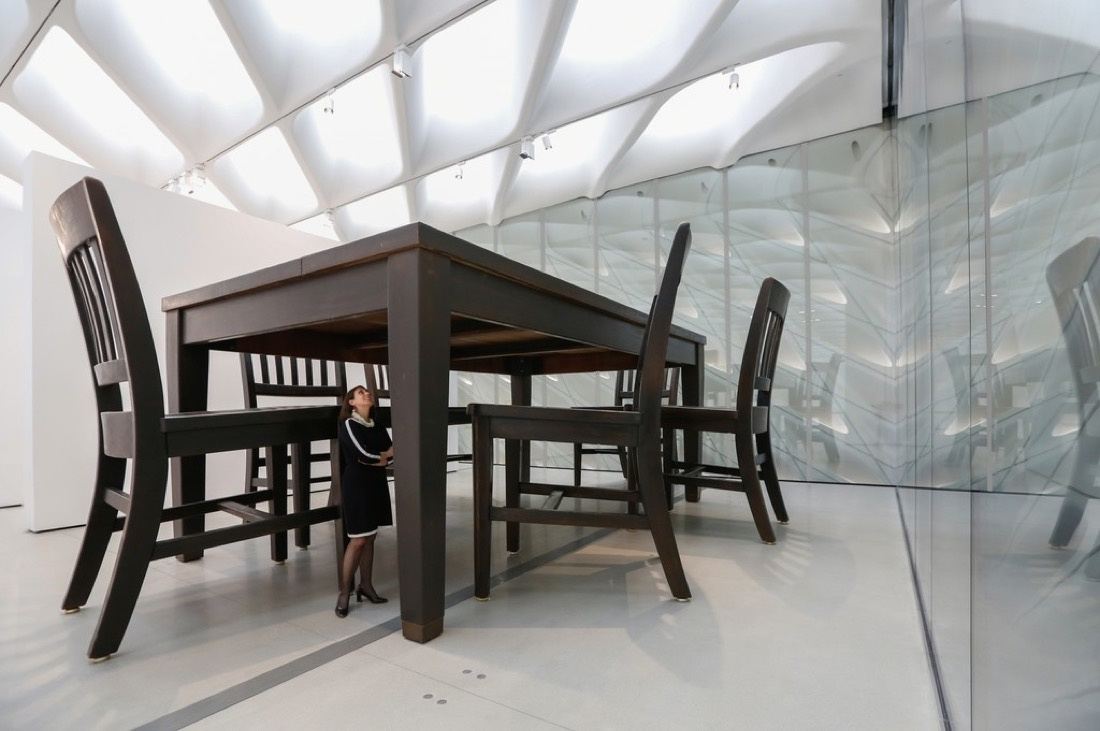 """Installation viewof Robert Therrien's """"Under the Table"""" in The Broad's third-floor galleries; photo by Elizabeth Daniels. Courtesy of The Broad and Diller Scofidio + Renfro."""