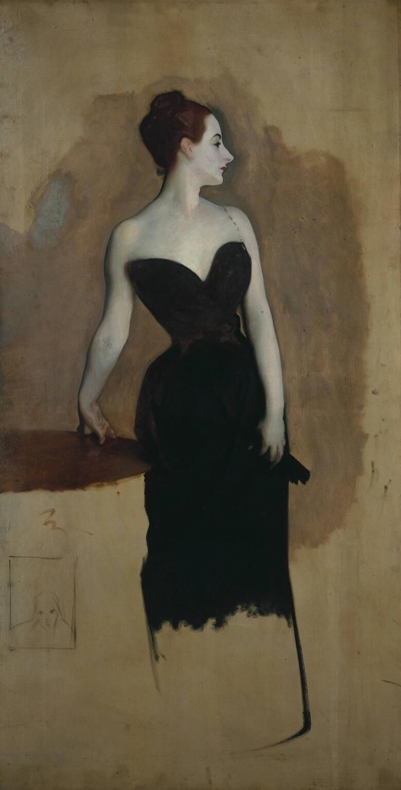John Singer Sargent, Study for Madame Gautreau (Madame X),  ca. 1884. Image via Wikimedia Commons.
