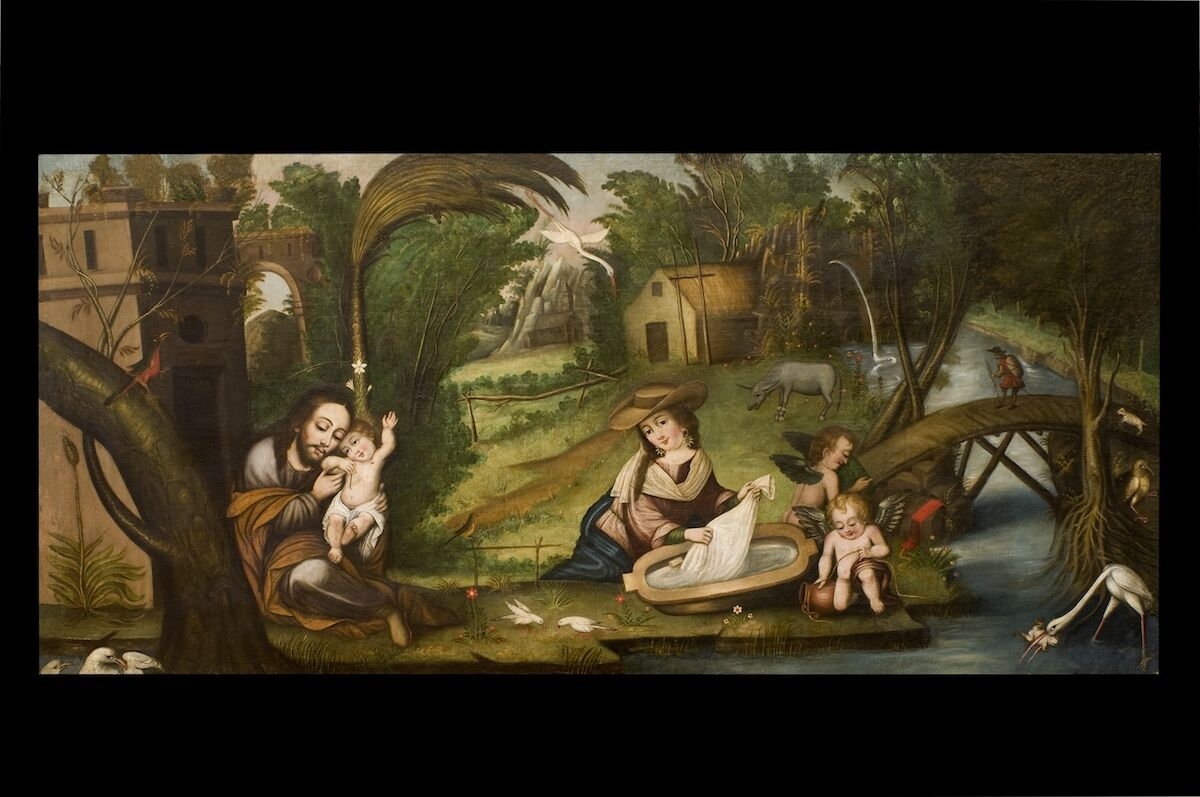 Unknown artist, Rest in the Flight into Egypt, Bolivia, 18th century, oil on canvas. Courtesy the Blanton Museum of Art, The University of Texas at Austin.