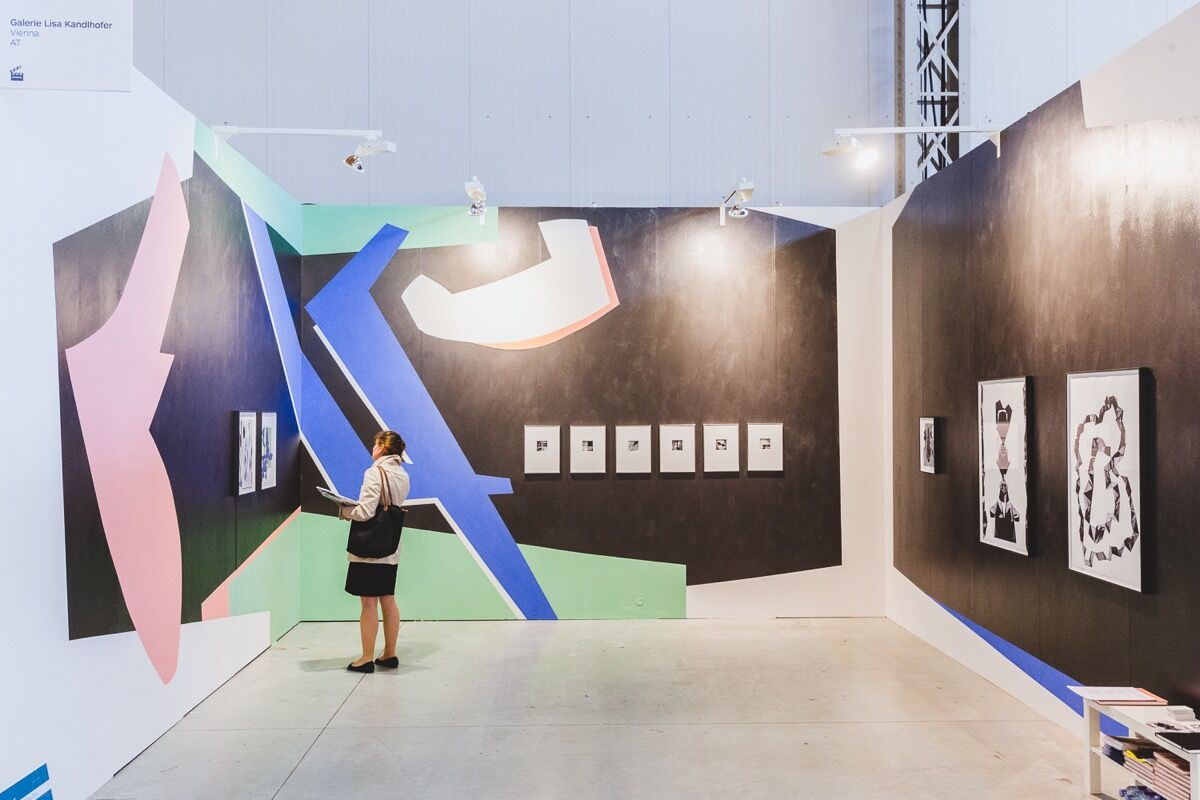 Installation view of Galerie Lisa Kandlhofer's booth at viennacontemporary, 2016. Photo by A. Murashkin, courtesy of the fair.