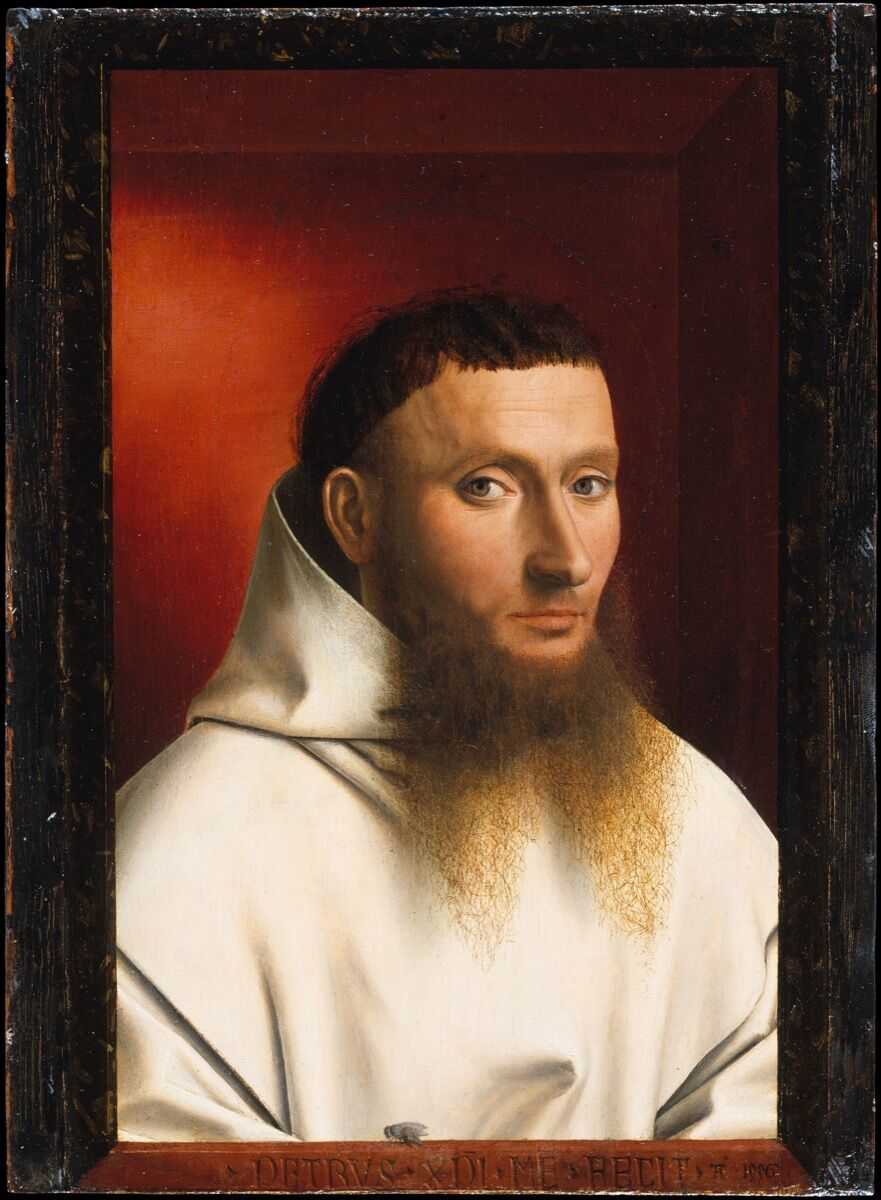 Petrus Christus, Portrait of a Carthusian, 1446. Courtesy of the Metropolitan Museum of Art.