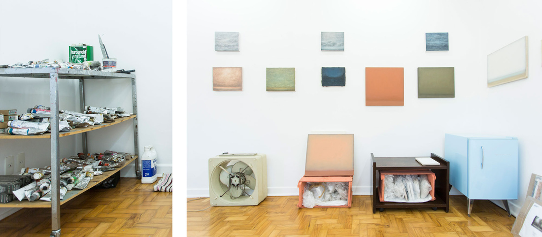 Detail views of Lucas Arruda's São Paulo studio by Beto Riginik for Artsy.