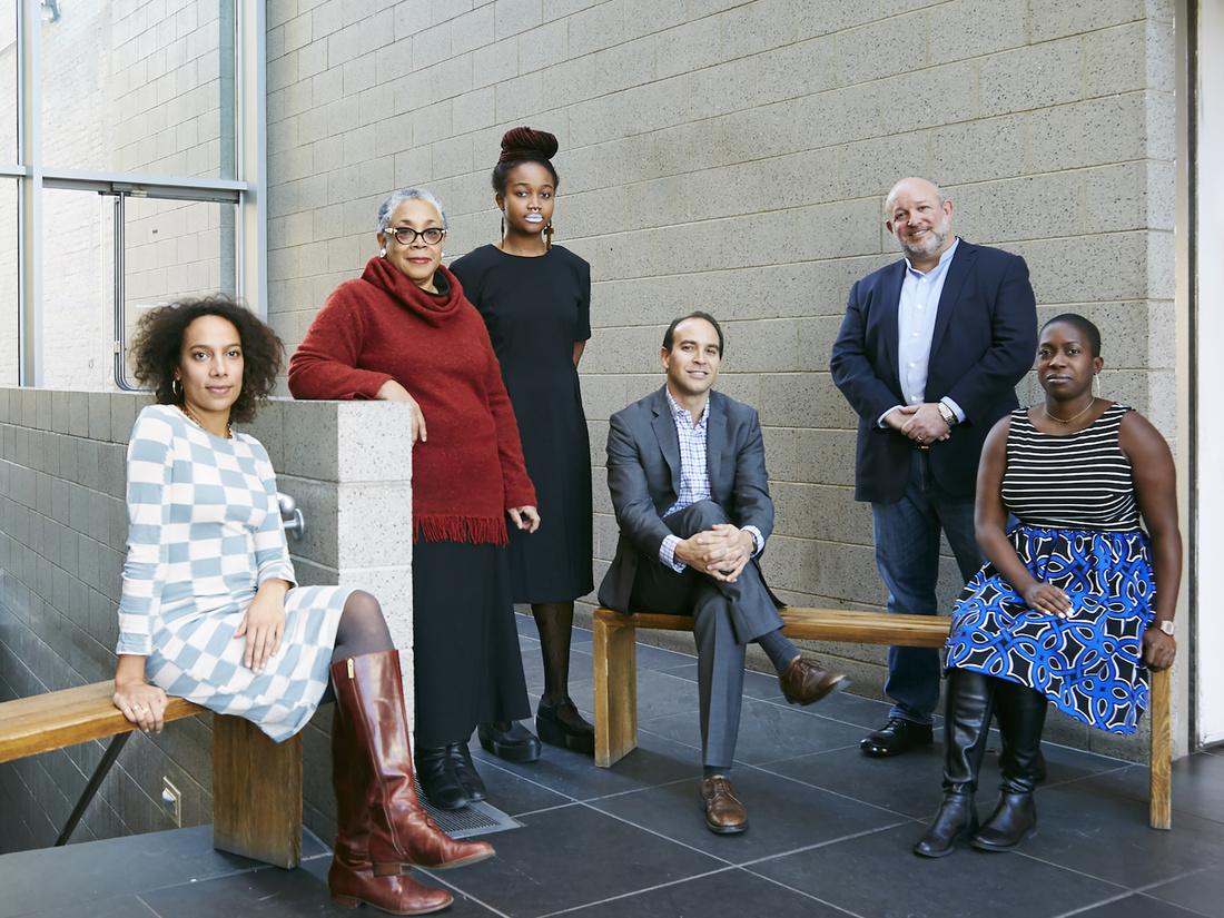 Portrait of Amanda Hunt, Lowery Stokes Sims, Kimberly Drew, Bernard Lumpkin, Michael Rosenfeld, and Lauren Haynes at the Studio Museum in Harlem, New York, by Emily Johnston for Artsy.