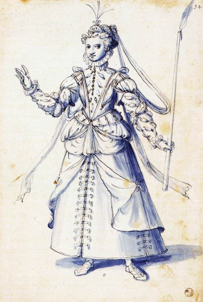 Giuseppe Arcimboldo, Costume drawing of a woman with torch, 1585. Image via Wikimedia Commons.