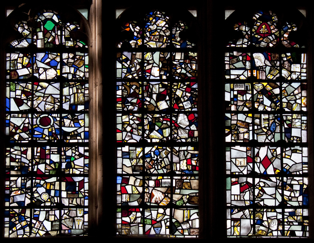 Reconstructed stained glass in Winchester Cathedral. Photo by Tony Hisgett.