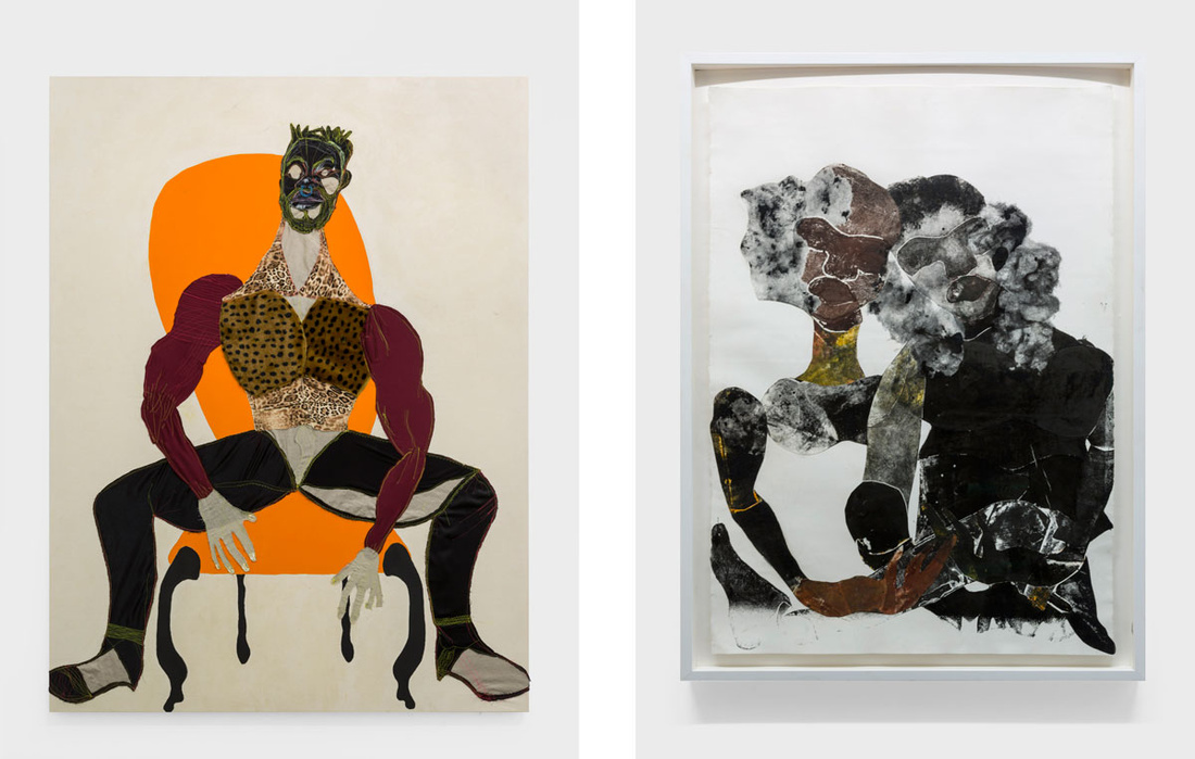 Left: Tschabalala Self, Mane, 2016; Right: Tschabalala Self, Black Love, 2015. Photos by Maurizio Esposito. Courtesy of the artist and T293.