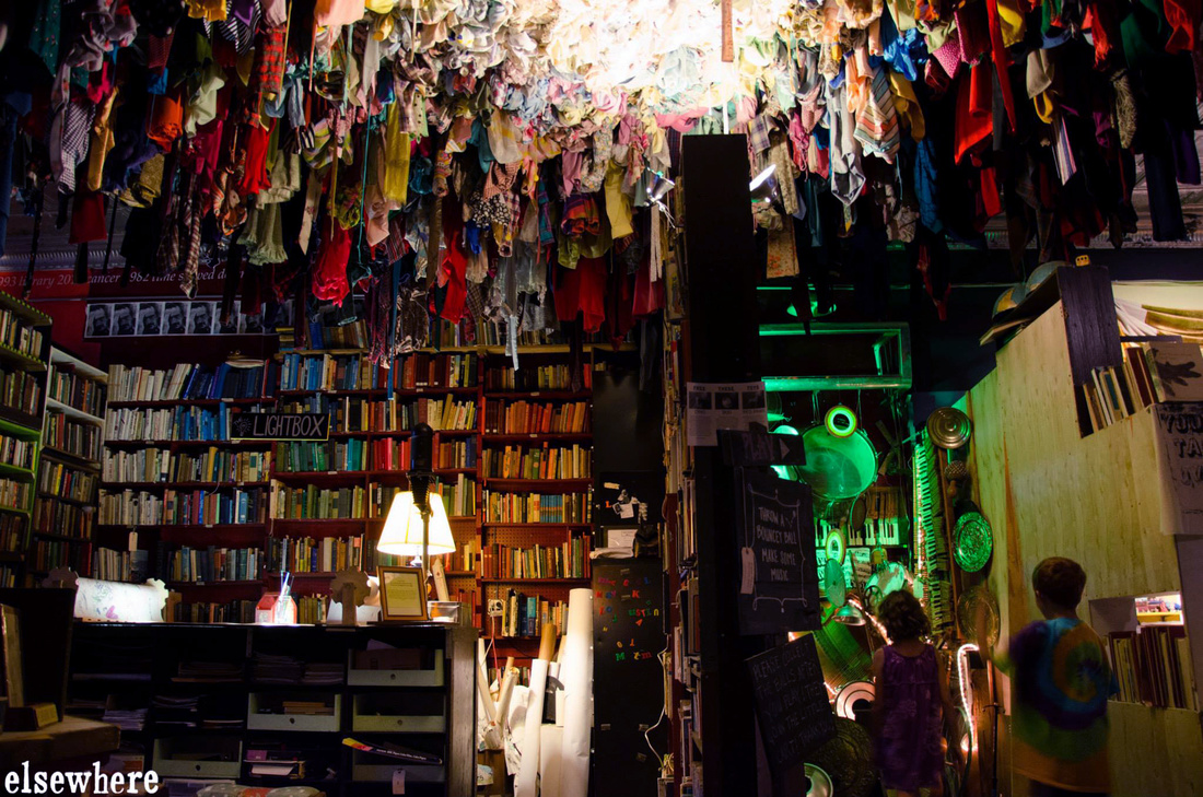 Elsewhere's Living Library and above, In Heavenby artist Guerra De La Paz. Courtesy of Elsewhere.