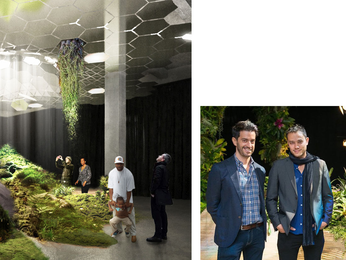 Rendering of The Lowline. Portrait of Dan Barasch and James Ramsey. Courtesy of RAAD and The Lowline.