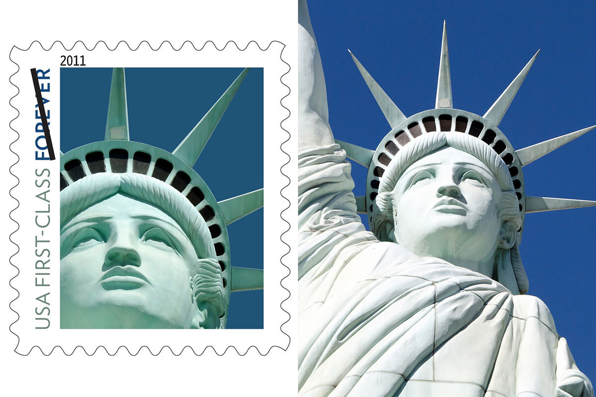 Left: The Lady Liberty First-Class stamp issued by the U.S. Postal Service.  Right: Statue of Liberty, New York, Las Vegas. Photo by ADTeasdale, via Flickr.
