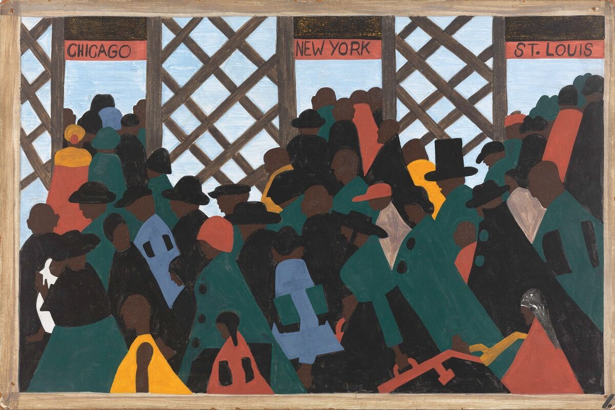Jacob Lawrence, The Migration Series, Panel no. 1: During World War I there was a great migration north by southern African Americans, 1940–1941. © The Jacob and Gwendolyn Lawrence Foundation, Seattle / Artists Rights Society (ARS), New York. Courtesy of The Philips Collection.