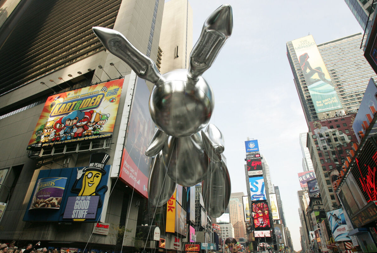The Rabit balloon by artist Jeff Koons floats in Times Square during the 81st annual Macy's Thanksgiving Day Parade on November 22, 2007 in New York City. Photo by Hiroko Masuike/Getty Images.