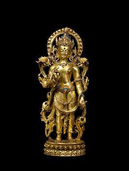 Standing Bodhisattva, Nepal or Tibet14th century, Gilkt-copper alloy and gemstones, H. 27 cm, Carlton Rochell Asian Art, New York