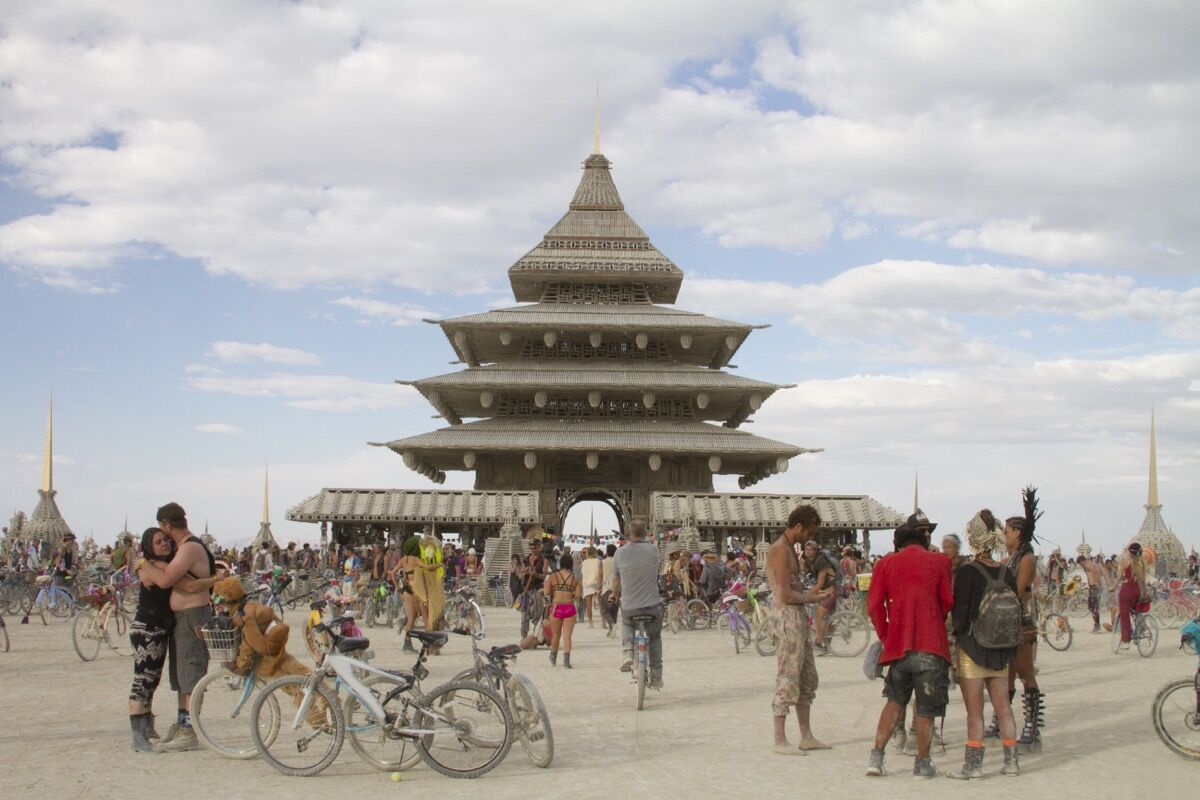 The last of David Best's iconic installations on the playa, The Temple (2016) reached 100 feet into the air and was surrounded by eight altars.