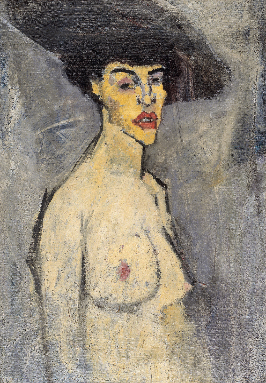 Amedeo Modigliani, Nude with a Hat, 1908. Courtesy of the Reuben and Edith Hecht Museum, University of Haifa, Israel and the Jewish Museum.