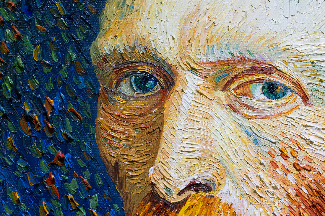 Detail of a copy of Vincent van Gogh, Self-Portrait, Spring 1887, at Star Arts (Van Gogh / Monet Gallery). Photo by Adam Kuehl for Artsy.