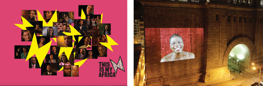 Left:Zina Saro-Wiwa, This is my Africa. Right: Zina Saro-Wiwa's Sarogua Mourning on the Manhattan Bridge. Images courtesy of the artist.