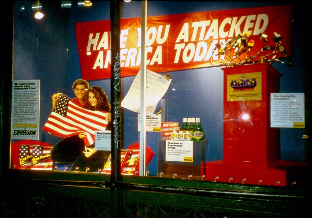 Installation view of Erika Rothenberg, Have You Attacked America Today, at the New Museum, New York, 1989. Courtesy of the artist.