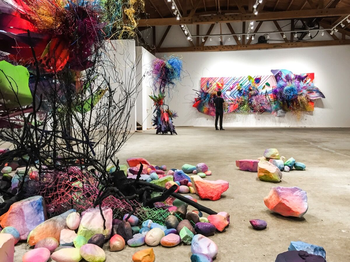 """Installation view of """"Jungle Cities,"""" courtesy of DENK Gallery."""