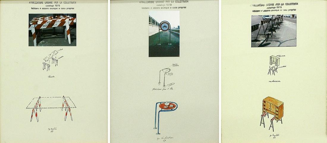 """Left to Right: Ugo La Pietra, works from the series """"Attrezzature urbane per la collettività (Urban structures for the city),"""" 1979. Courtesy of Laura Bulian Gallery."""