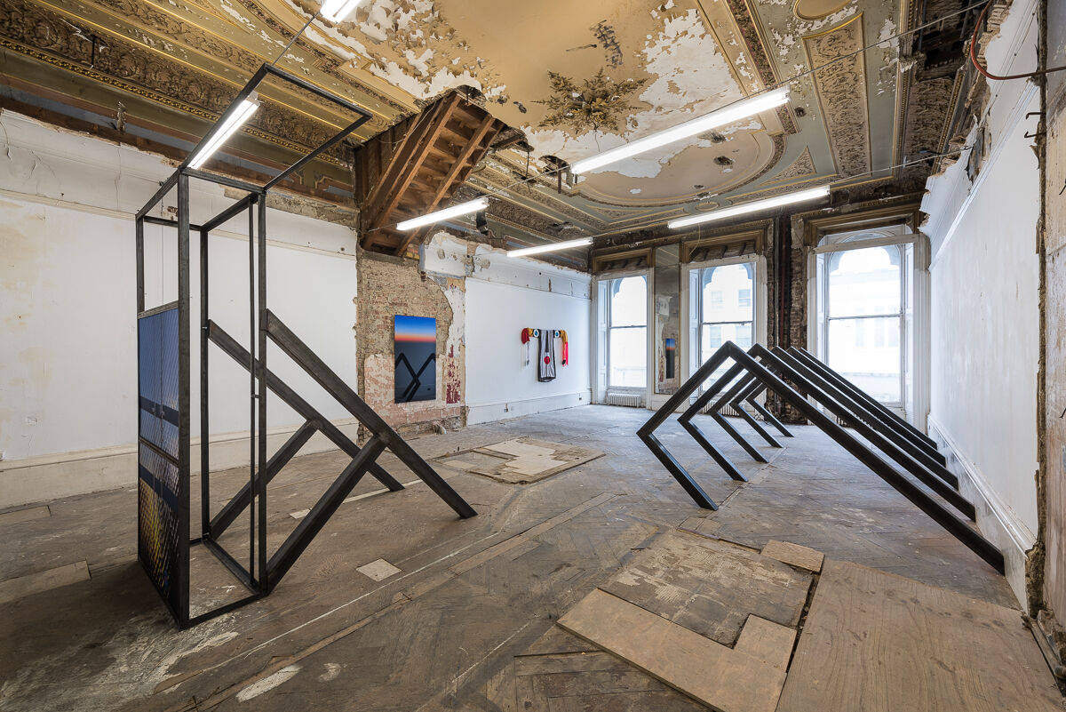 Installation view of works by Marco Strappato, Jonathan Baldock, and Amy & Oliver Thomas-Irvine at the Averard Hotel, london. Photo courtesy of Slate Projects.