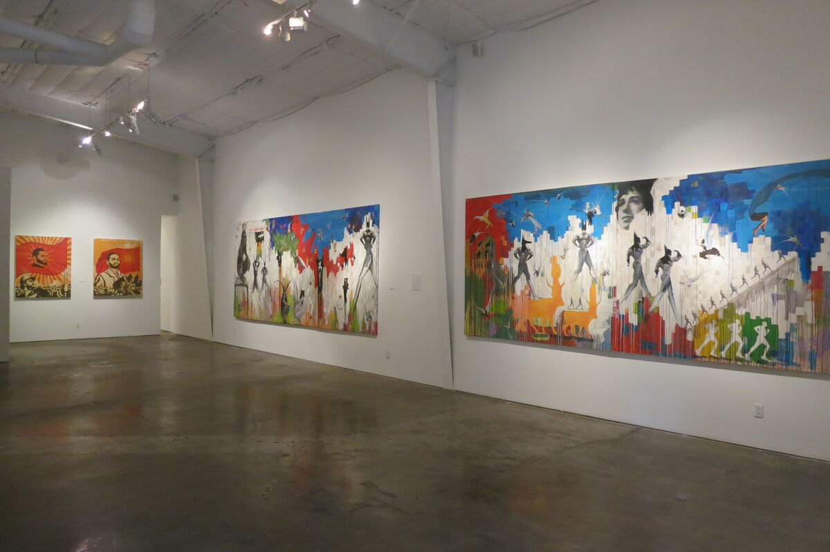"Installation view of ""Mapping Strife,"" an exhibition including Hafez and Obaidi at Deborah Colton Gallery, 2014. Courtesy of Deborah Colton Gallery."