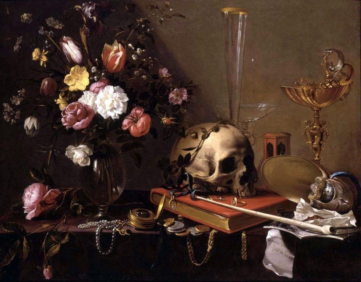Adriaen van Utrecht, Vanitas - Still Life with Bouquet and Skull.