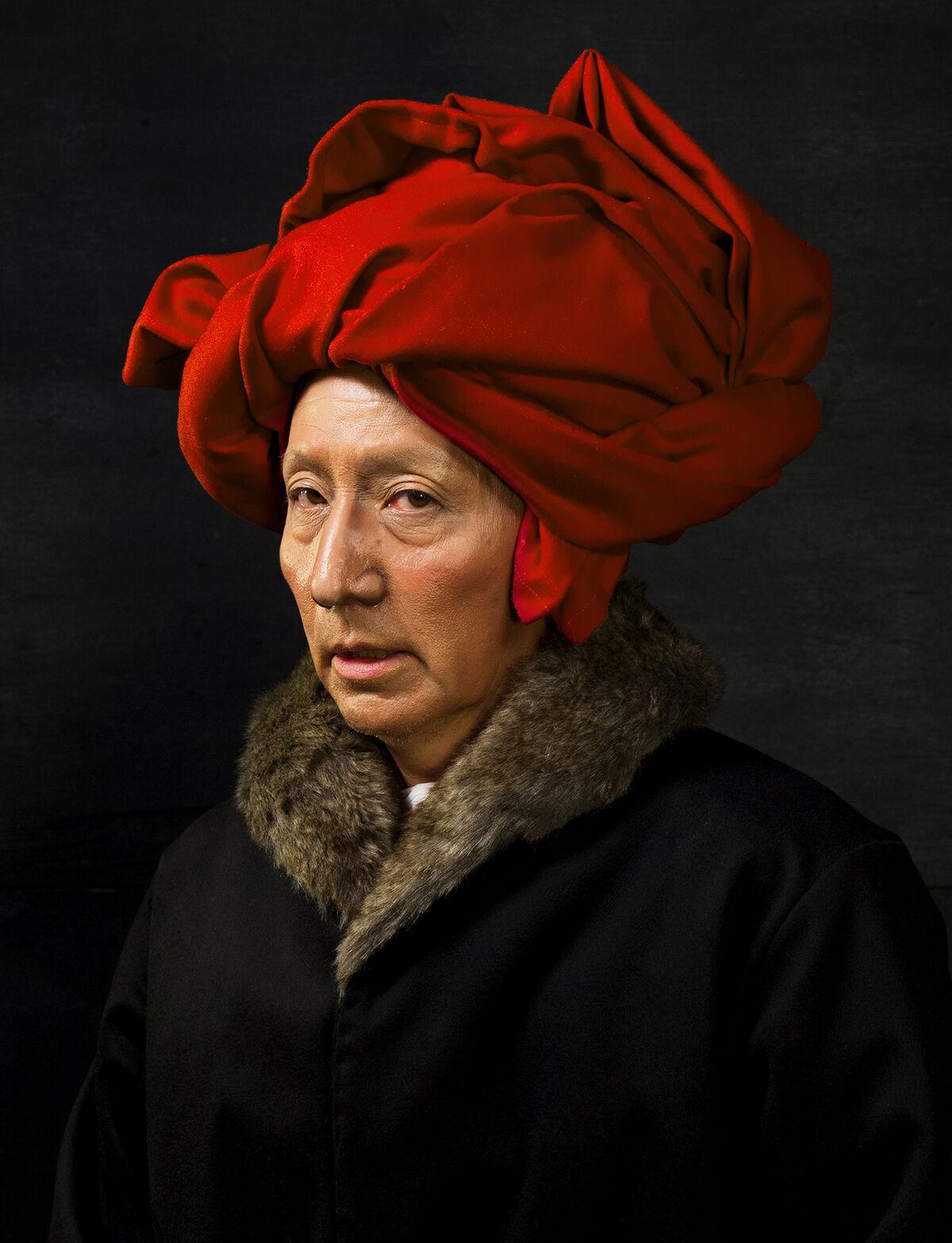 Yasumasa Morimura, Self-Portraits through Art History (Van Eyck in a Red Turban), 2016. © Yasumasa Morimura. Courtesy of the artist and Luhring Augustine, New York.