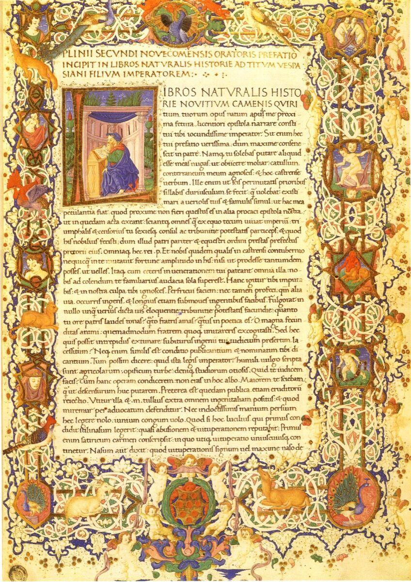 Pliny the Elder, Natural History, 15th century. Photo via Wikimedia Commons.