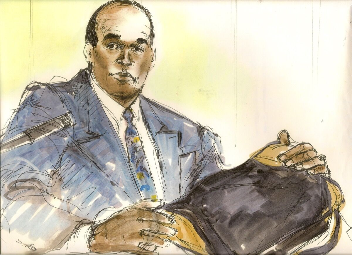 Illustration of O. J. Simpson in his civil trial by Mona Shafer Edwards.
