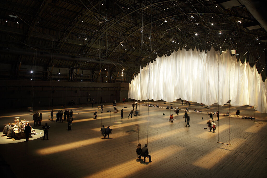 Installation view of Ann Hamilton, the event of a thread, 2012, at the Park Avenue Armory, New York. Photo by Thibault Jeansen. Courtesy of the Ann Hamilton Studio.