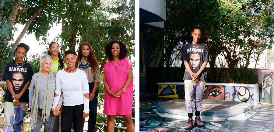 Left: Portrait of Lauren Halsey, Betye Saar, Dr. Joy Simmons, Erin Christovale, Michelle Papillion, and Naima Keith. Right: Portrait of Lauren Halsey. Photographs taken at the home of Dr. Joy Simmons byMegan McIsaac for Artsy.