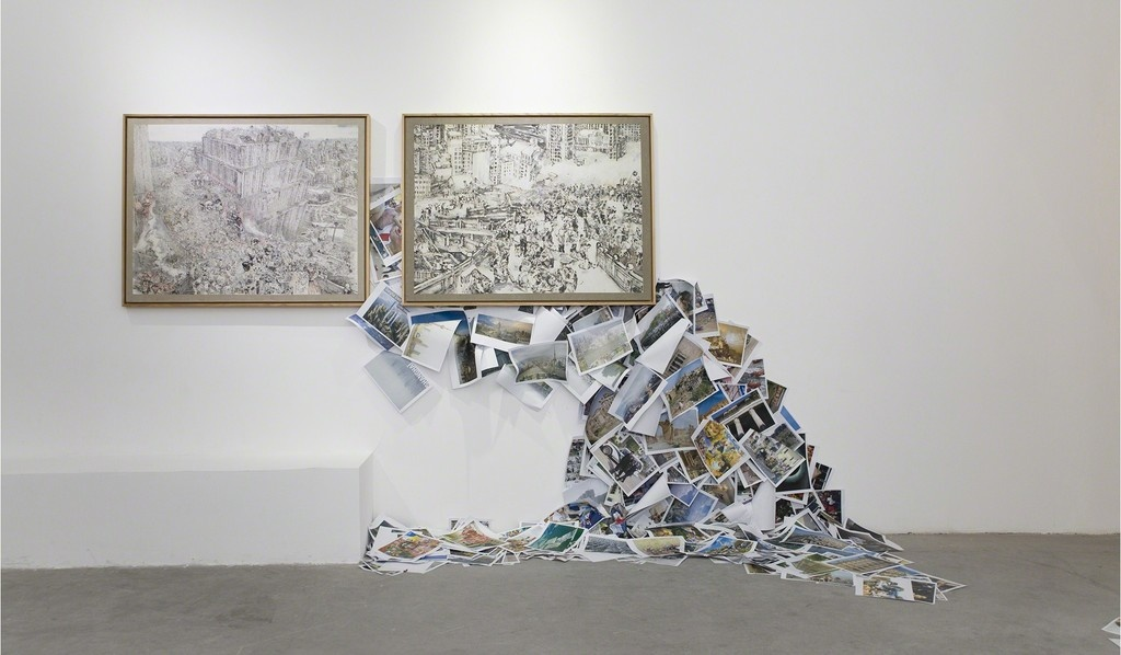 """Installation view of """"Du Zhenjung: Babel World,"""" courtesy Pearl Lam Galleries."""