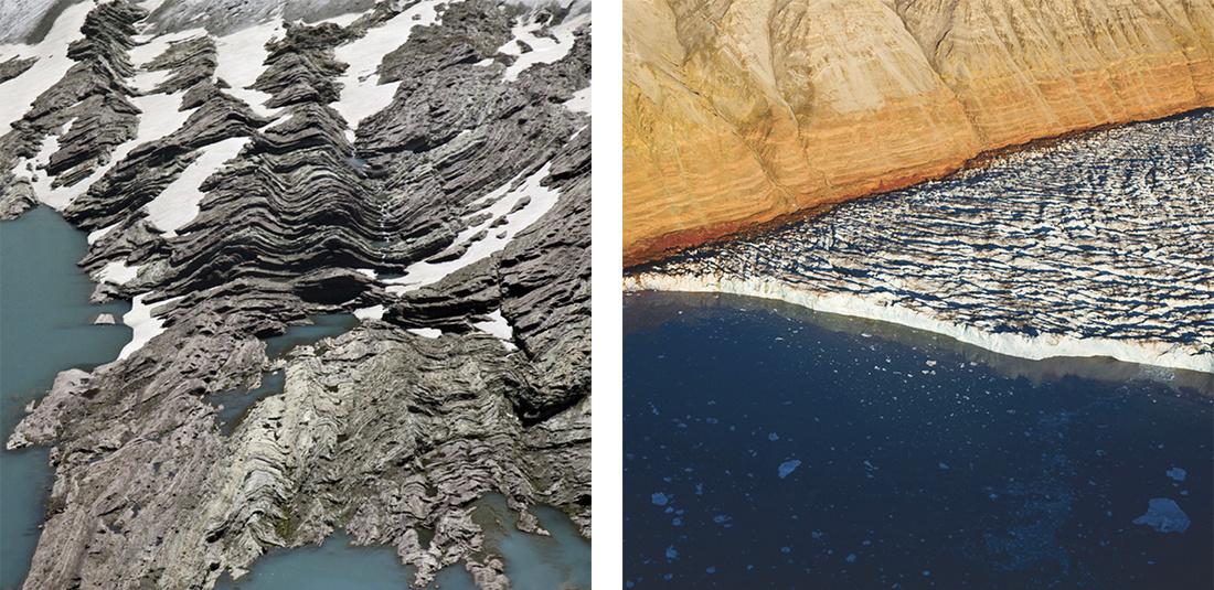 "Diane Burko,""Over Montana Glacier National Park 4""(2013) and""Crevasse Surge 1""(2013), courtesy LewAllen Galleries."