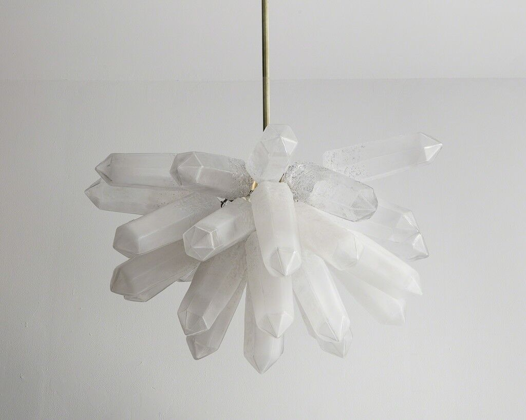 Illuminated Crystal Cluster sculpture in translucent white hand-blown glass