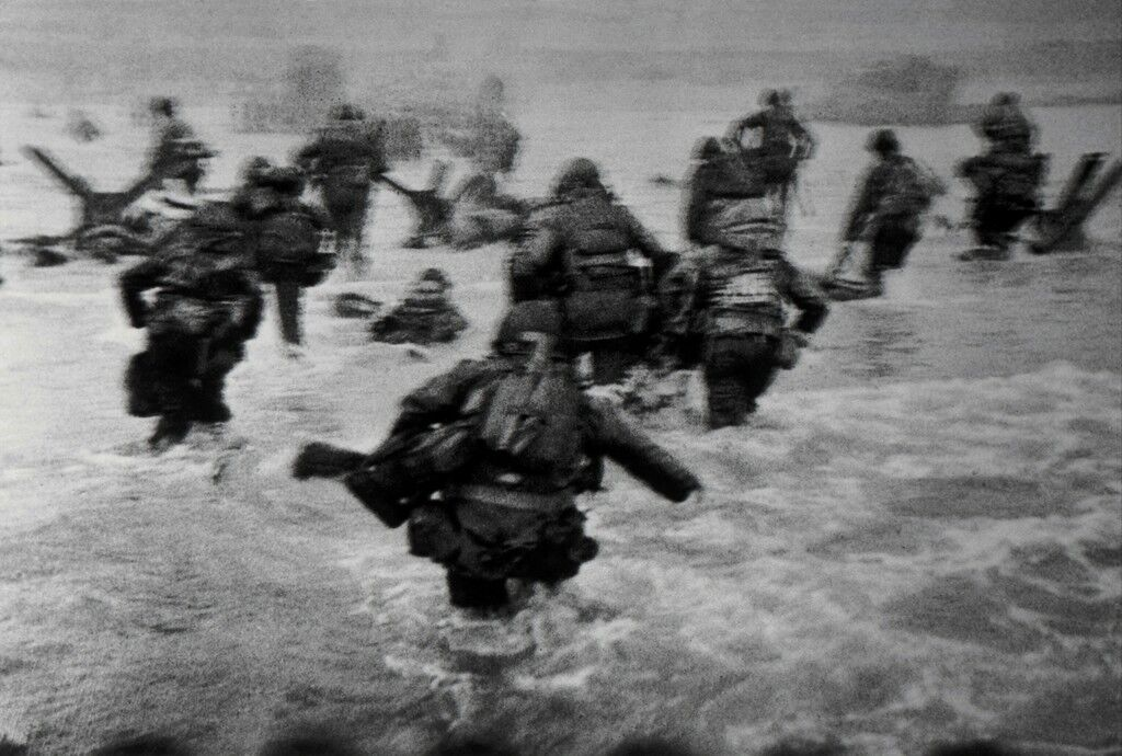US troops assault Omaha Beach during the D-Day landings. Normandy, France.