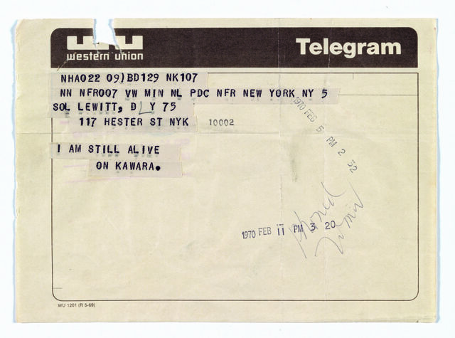 Telegram to Sol LeWitt
