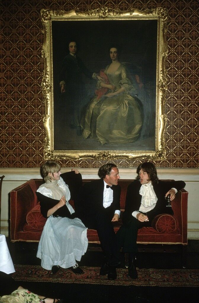 Pop and Society: Marianne Faithfull, Desmond Guinness, and Mick Jagger at Leixlip Castle, Ireland