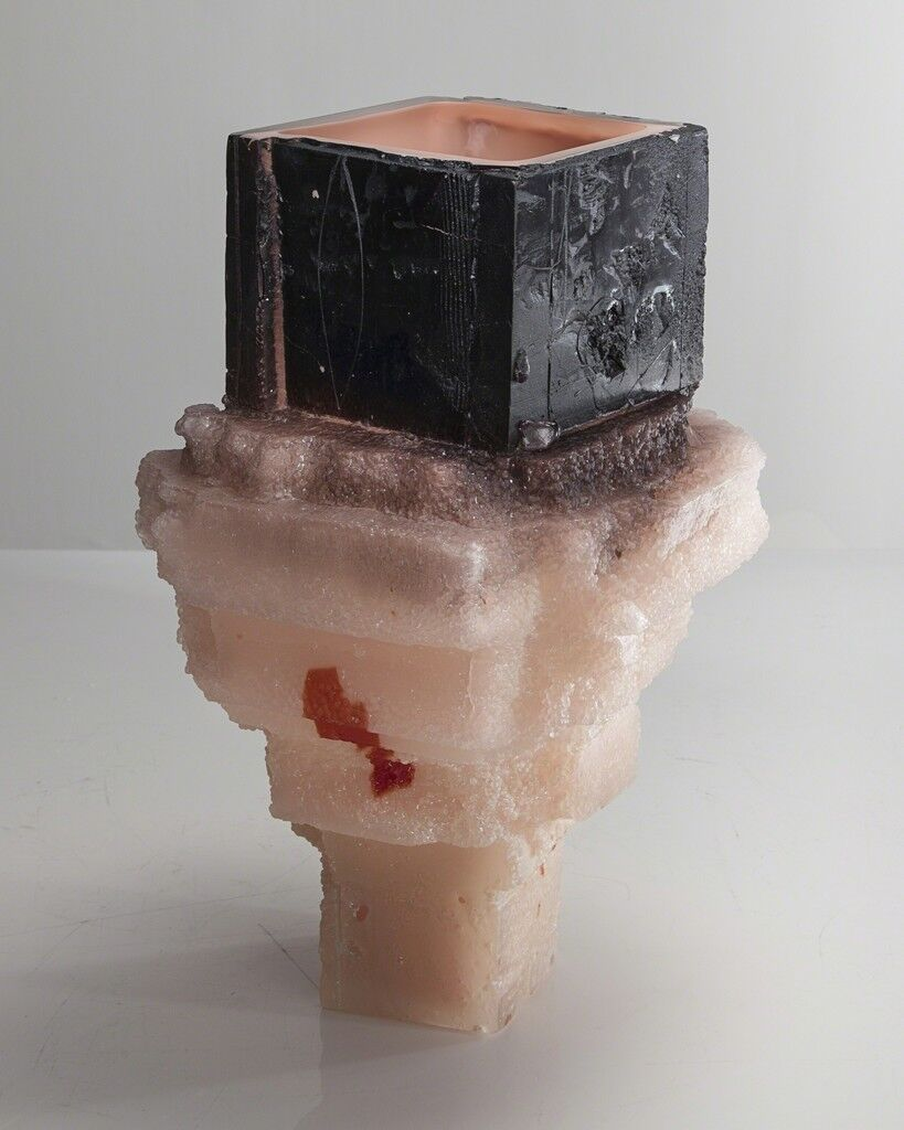 Unique Assemblage vessel in black and pale pink with pink interior hand-blown, cut and polished glass
