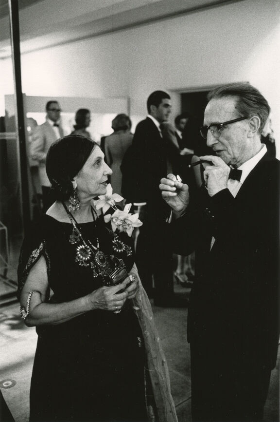 Beatrice Wood and Marcel Duchamp at the Opening Reception, Duchamp Retrospective, Pasadena Art Museum