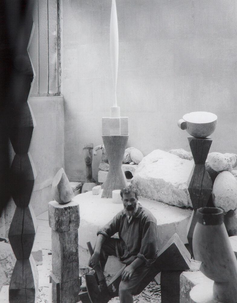 Brancusi In His Studio