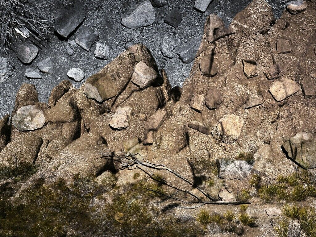 Tent-Camera Image On Ground: Boulders Near Live Oak, Joshua Tree National Park, California