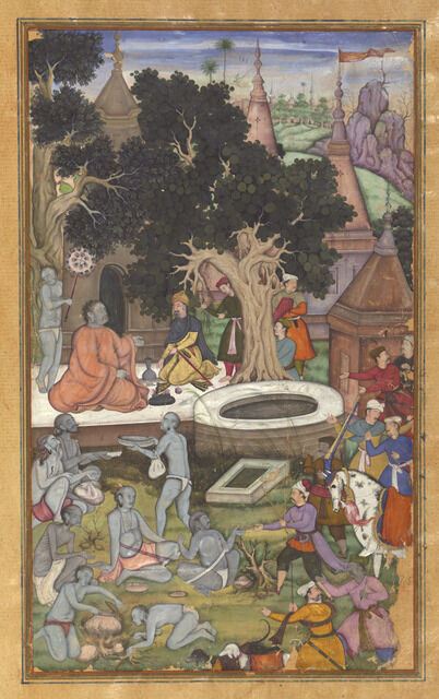 Babur and his retinue visiting Gor Khatri, page 22b from a manuscript of Baburnama (The Book of Babur)