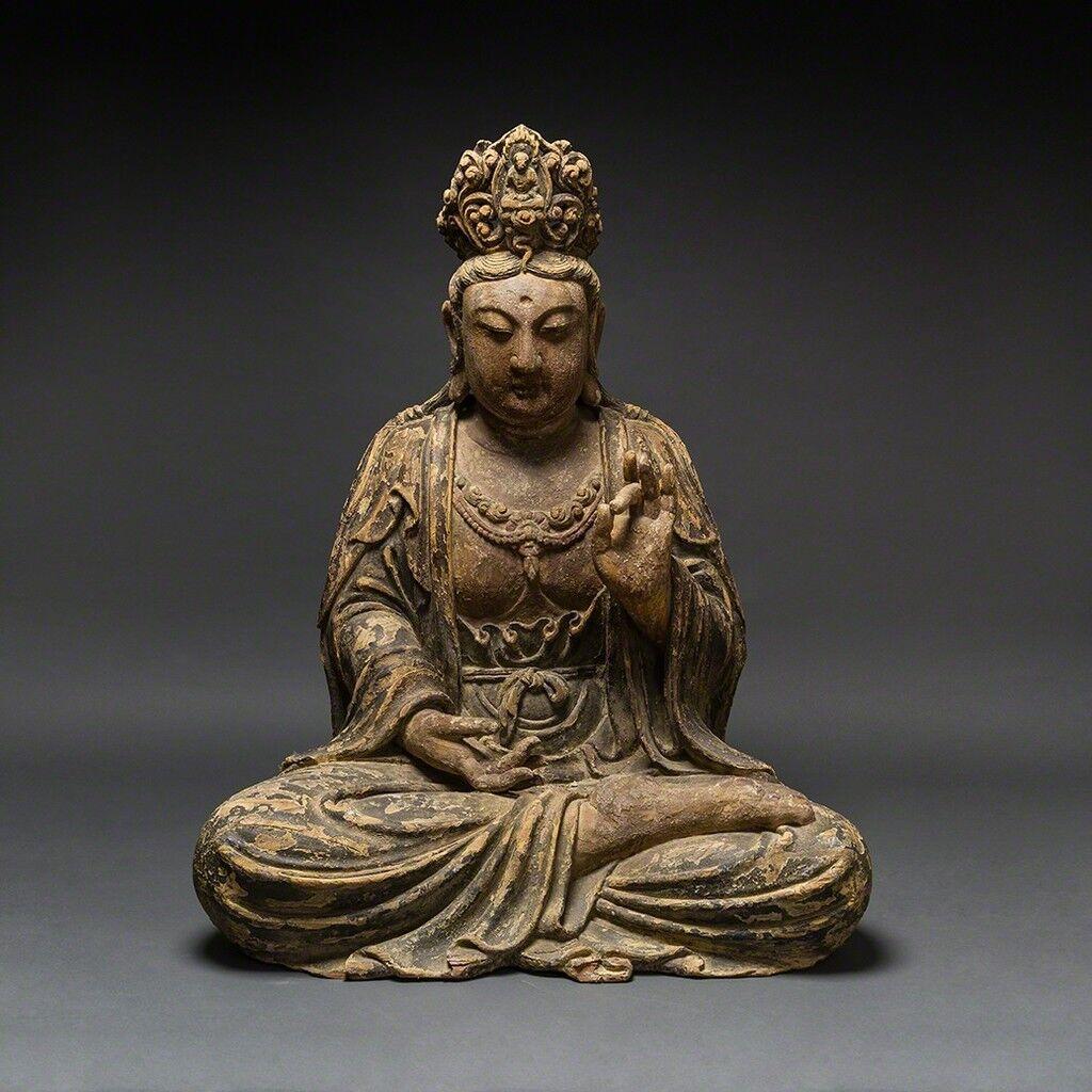 Bodhisattva Sentado De Madera Ming