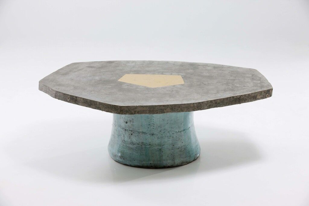 Pentagon Concrete Table with Ceramic Stool Base