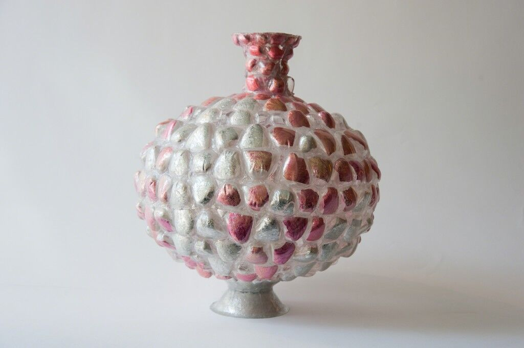 Pink and Silver Vessel