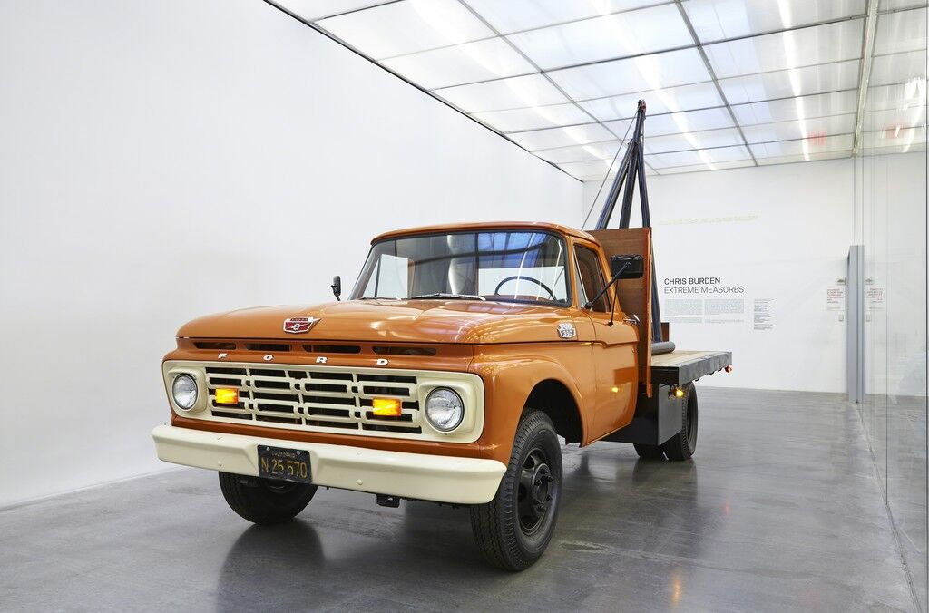 "1 Ton Crane Truck. Installation view, ""Chris Burden: Extreme Measures"" at New Museum, New York, 2013"