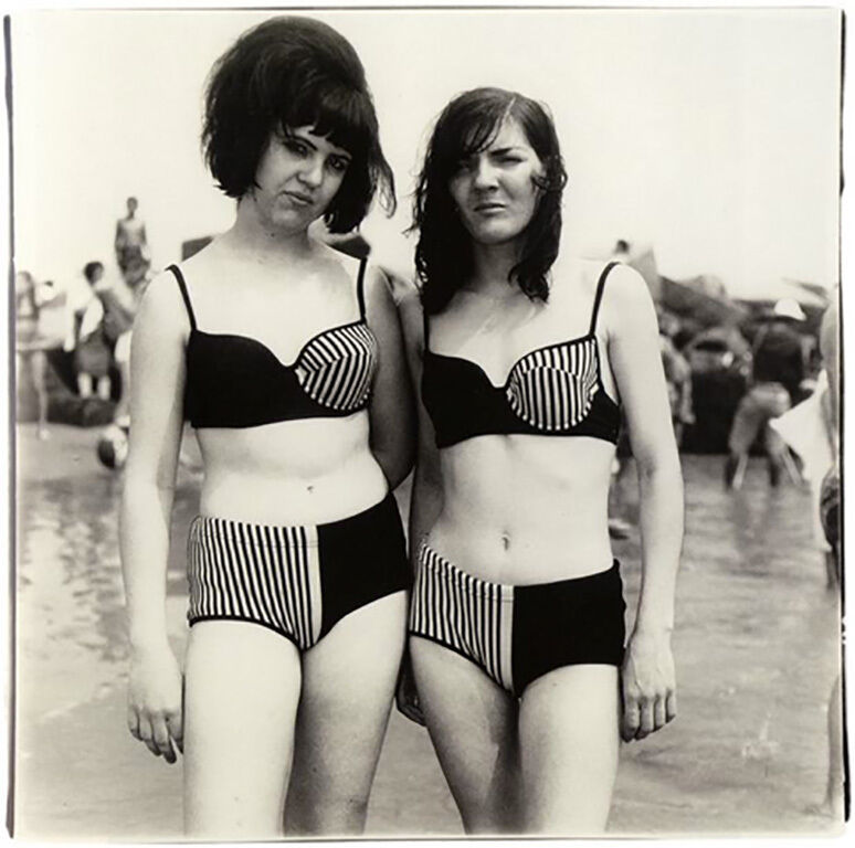 Two Girls in Matching Bathing Suits, Coney Island, NY