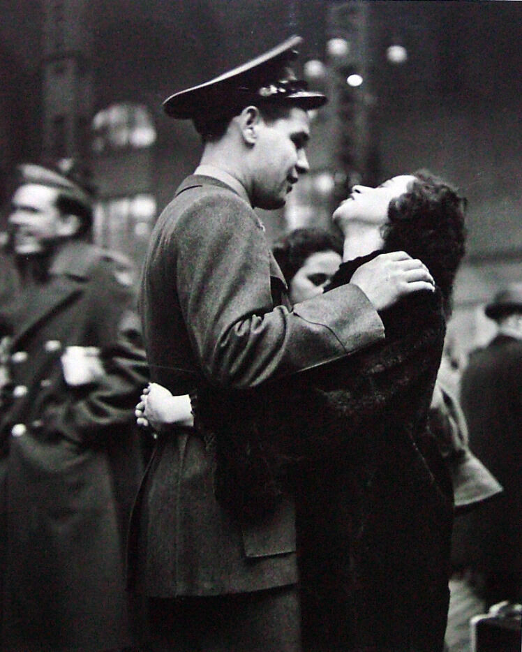 Farewell at Pennsylvania Station (Man Embracing Woman with Dark Hair_