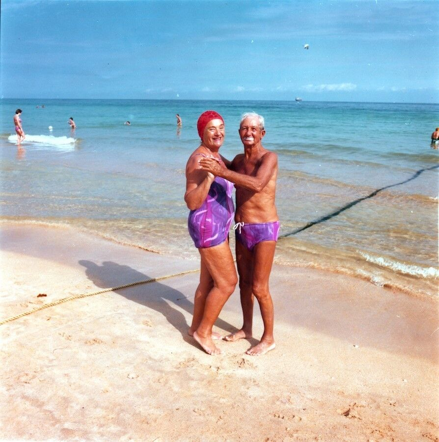 Couple at South Beach with Matching Swimsuits